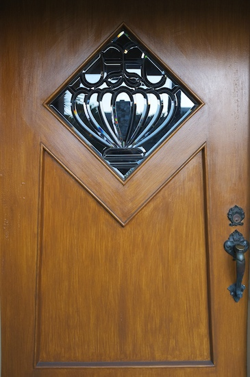 Front door with diamond-shaped leaded glass